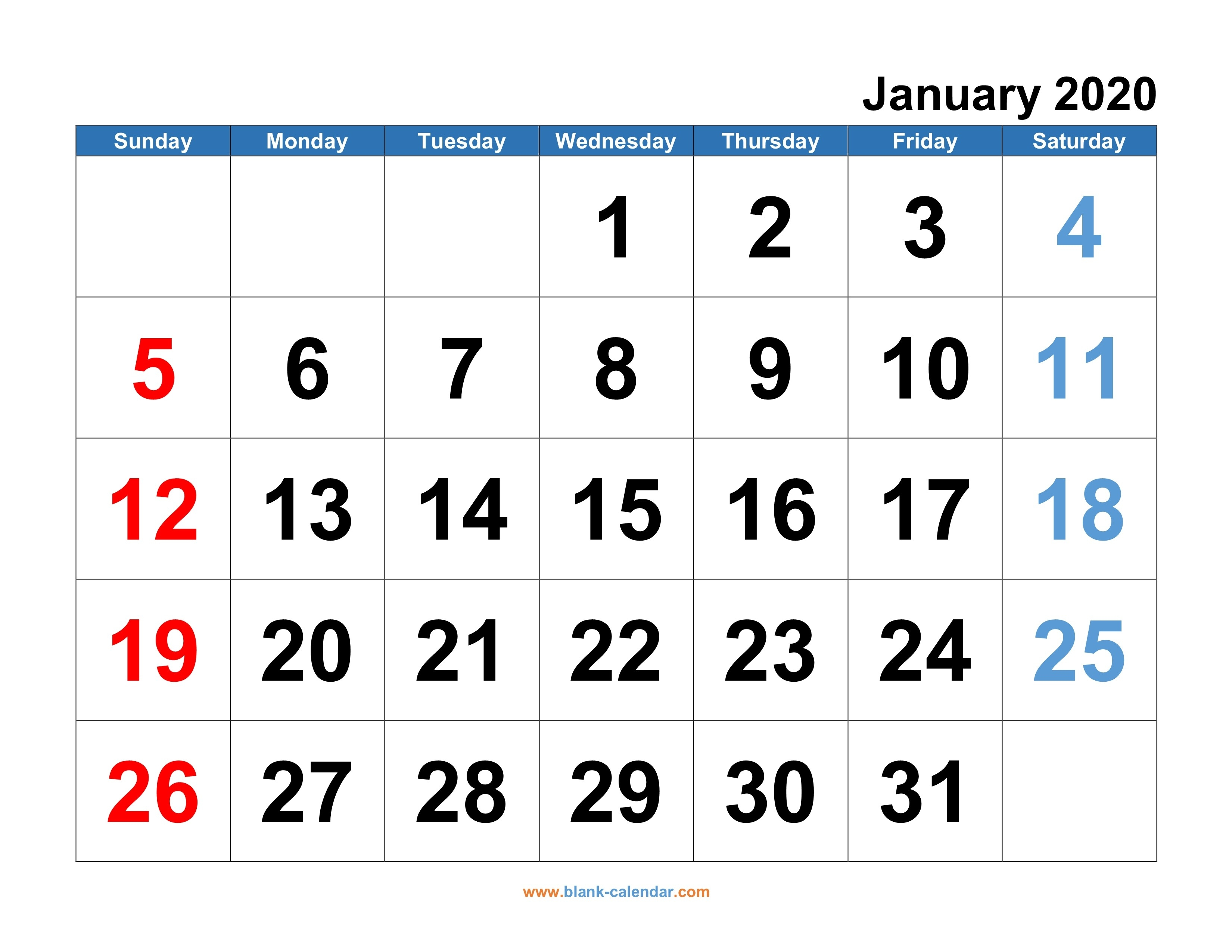 Monthly Calendar 2020   Free Download, Editable And Printable-Fill In Calendar Template 2020