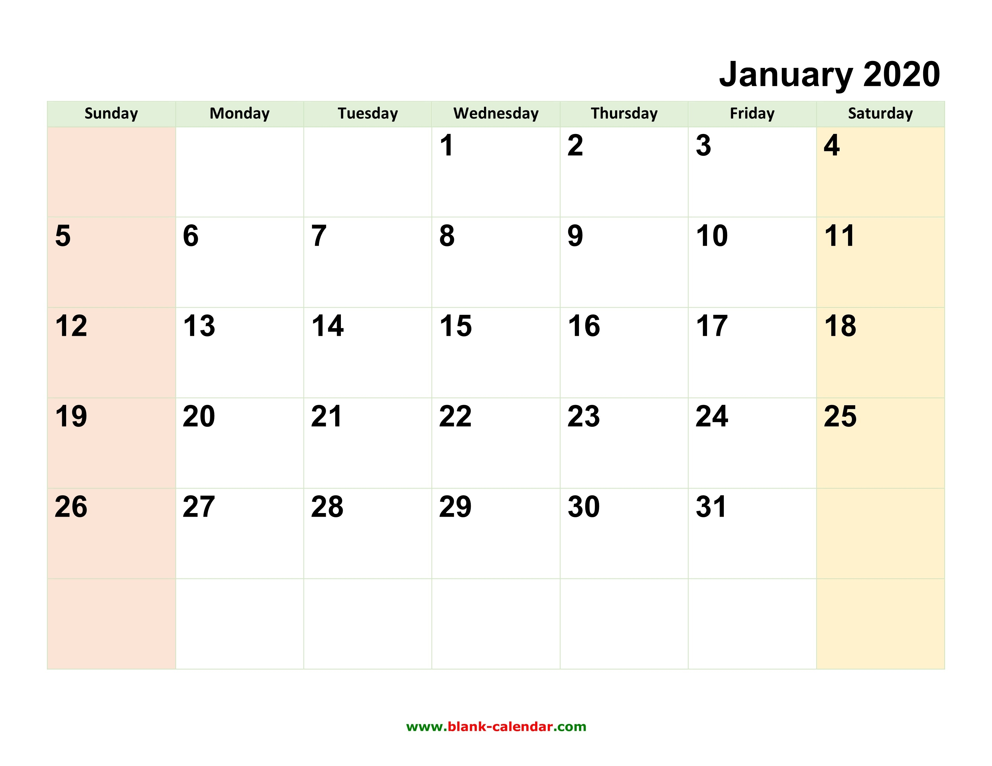 Monthly Calendar 2020   Free Download, Editable And Printable-Free Fillable 2020 Calendar Template