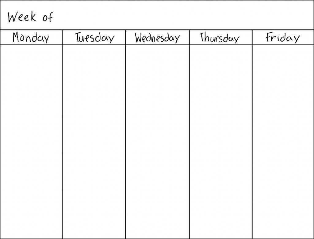 Monthly Calendar 5 Day Week | Calendar Design Ideas-Template Printable Calendar 5 Weeks