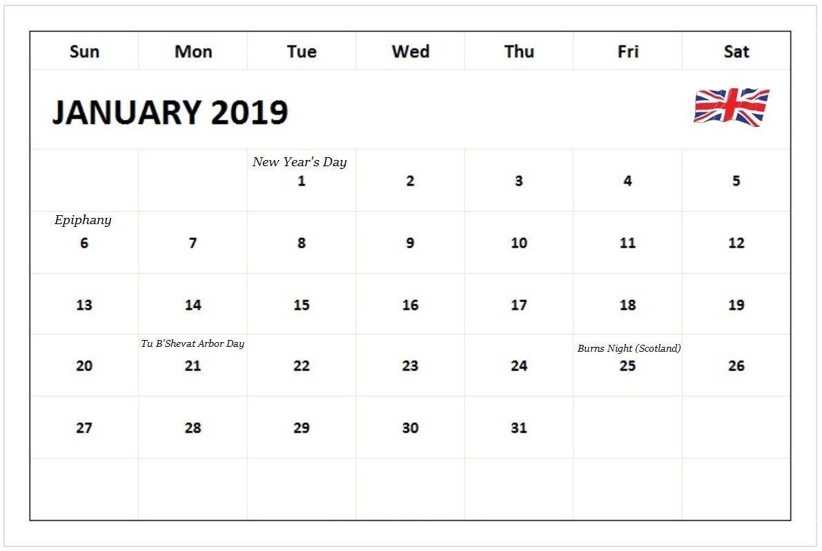 Monthly Calendar January 2019 Uk Holidays #januarycalendar-Uk Monthly Calendar Template