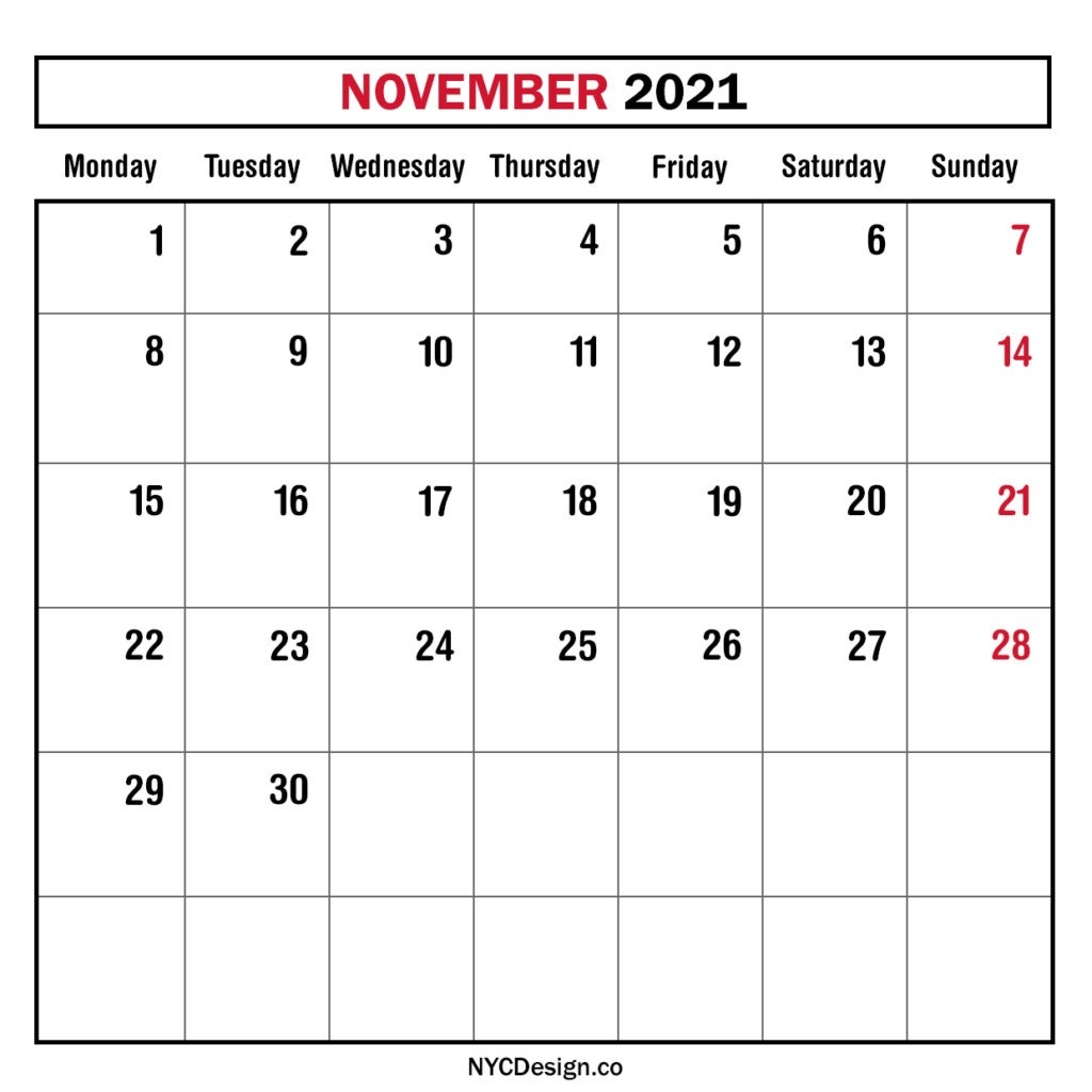 Monthly Calendar November 2021, Monthly Planner, Printable-Free Blank Calender Montly Starting On Monday