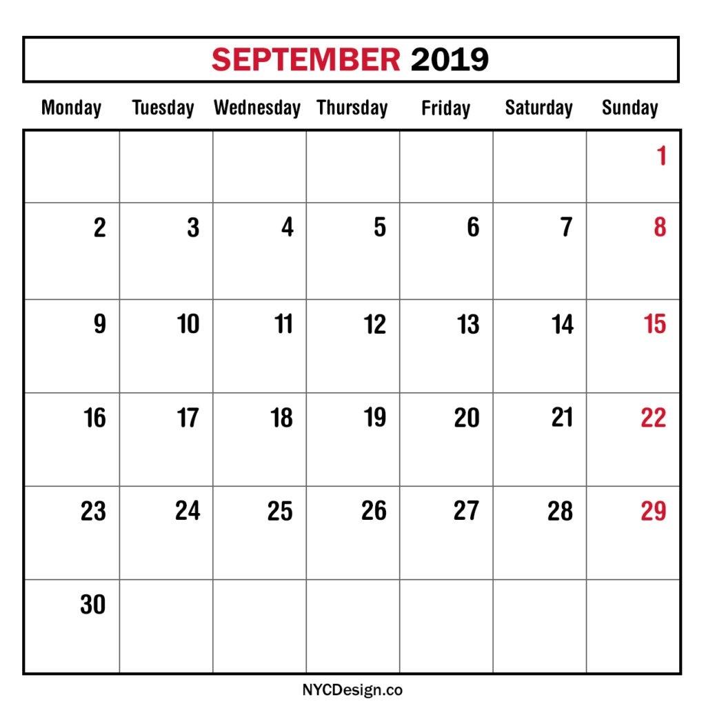 Monthly Calendar September 2019, Monthly Planner, Printable-Blank September Calendar Monday Start