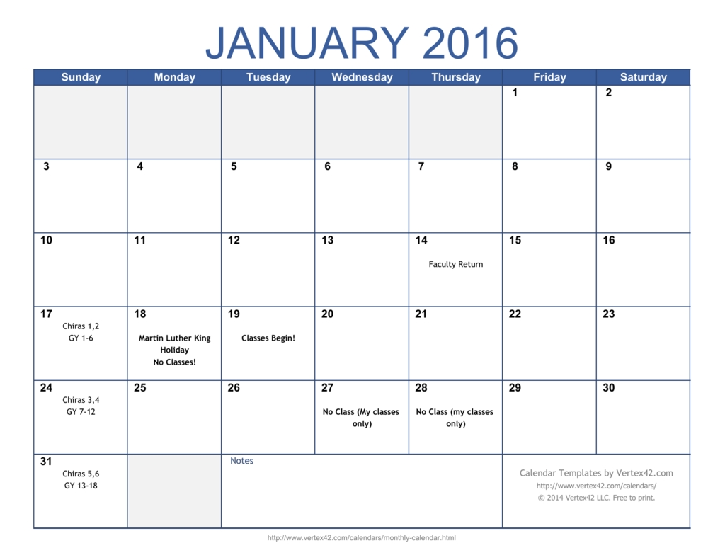 Monthly Calendar Template-Calendar Templates By Vertex42.com
