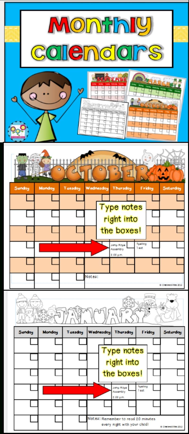 Monthly Calendar Templates Editable   Firstgradefaculty-Monthly Behavior Calendar Template