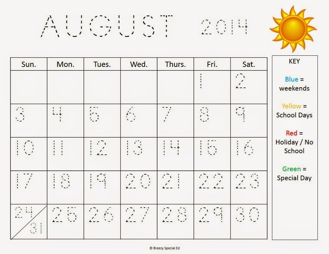 Monthly Calendar Worksheets + August Freebies! - Breezy-School Monthly Calendar No Weekends