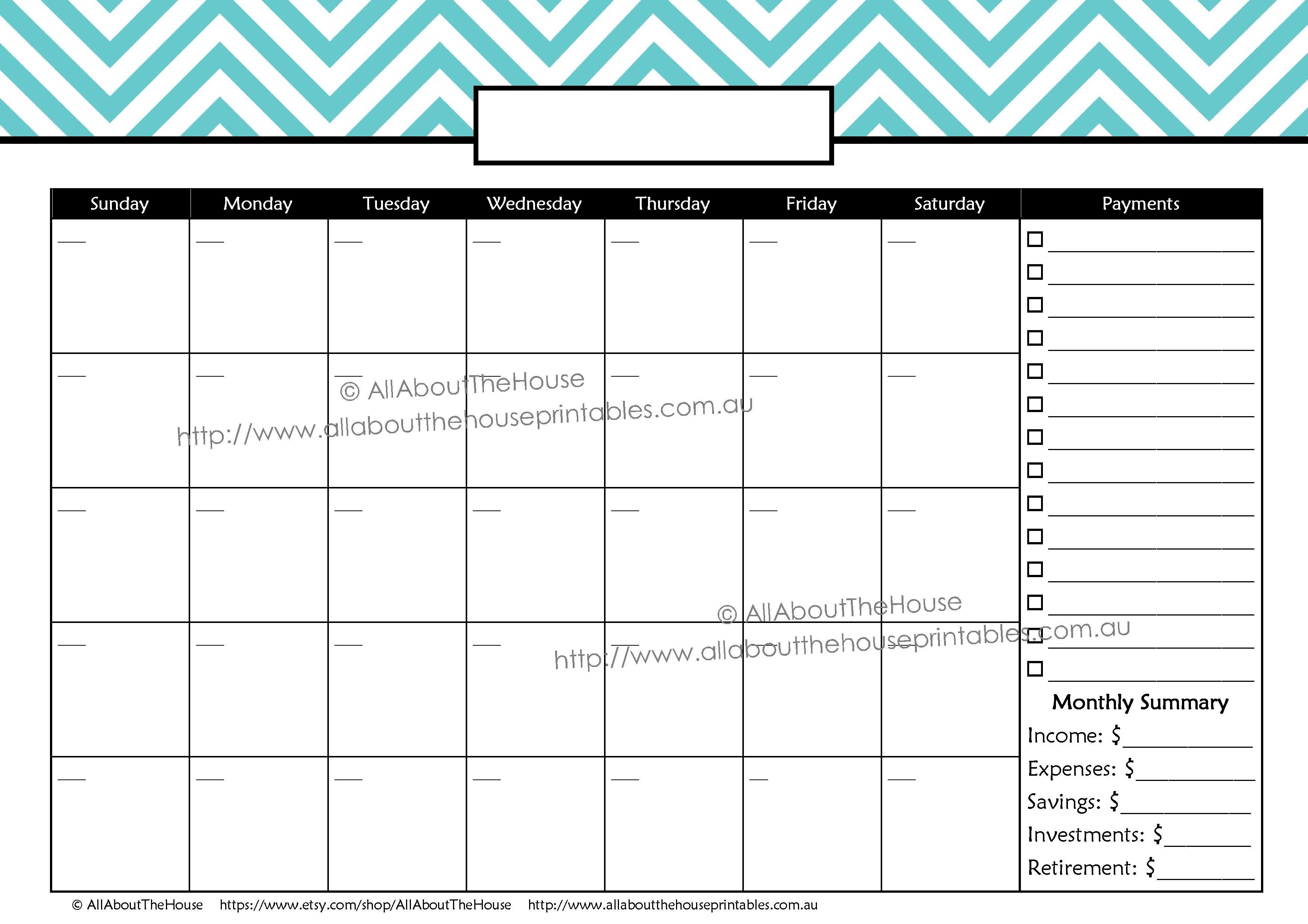 Monthly Finance Calendar Payments Chevron Monday Sunday-Free Bill Payment Calendar Template
