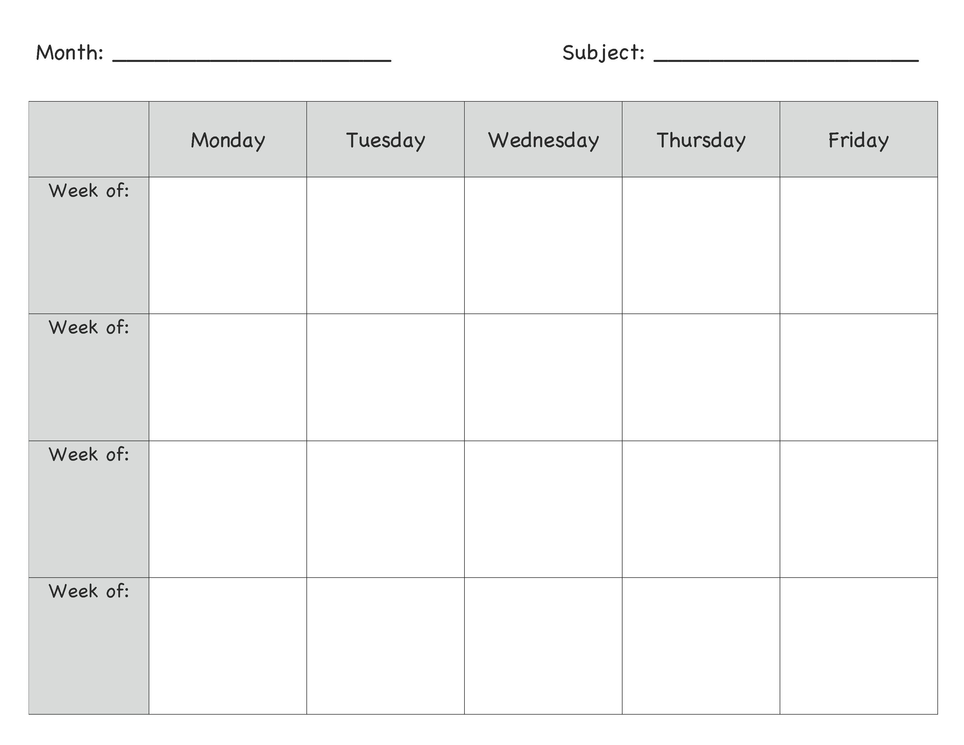 Monthly Lesson Plan Template … | Lesson Plans | Presc…-Blank Lesson Plan Calendar Template