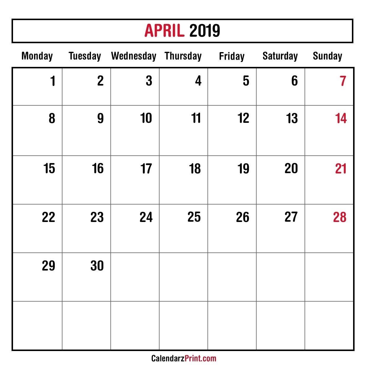 Monthly Planner April 2019 – Printable – Monthly Calendar-Monthly Calendar Starting Monday