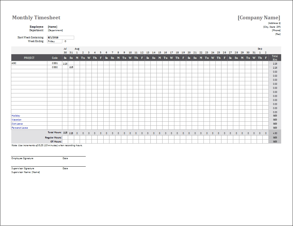 Monthly Timesheet Template For Excel And Google Sheets-Calendar Templates By Vertex42.com