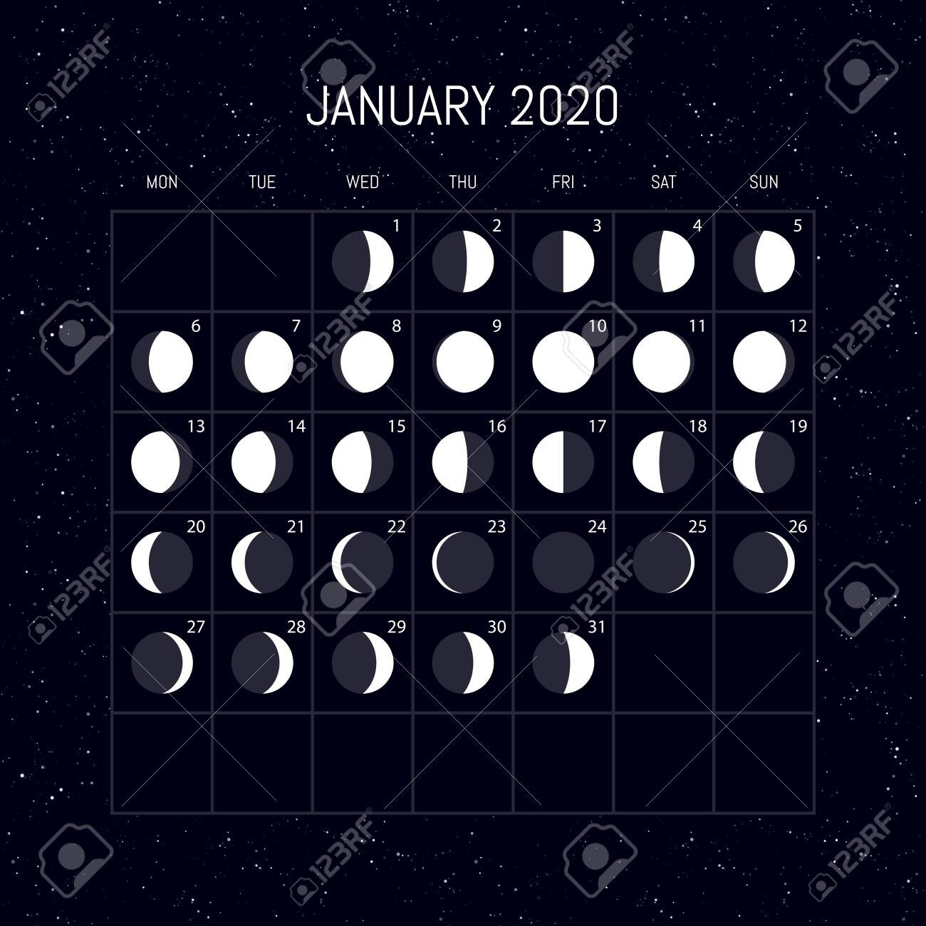 Moon Phases Calendar For 2020 Year. January. Night Background..-January 2020 Calendar With Moon Phases