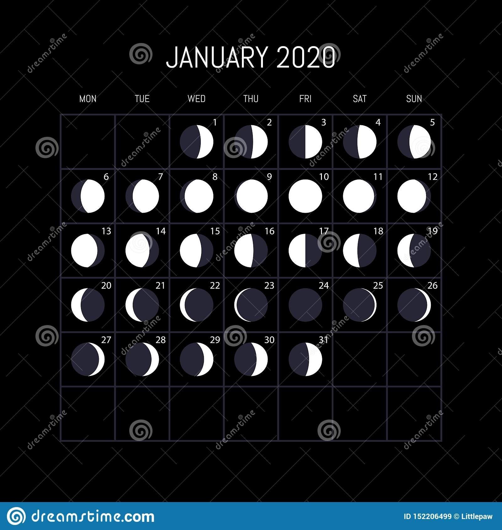 Moon Phases Calendar For 2020 Year. January. Night-Moon Calendar January 2020