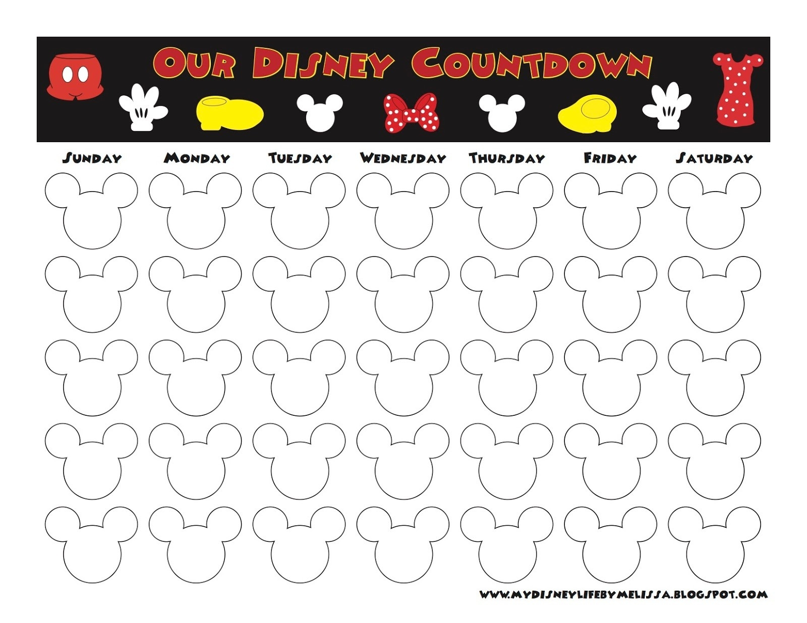 My Disney Life: Countdown Calendars-Blank Countdown Calendar 50 Days