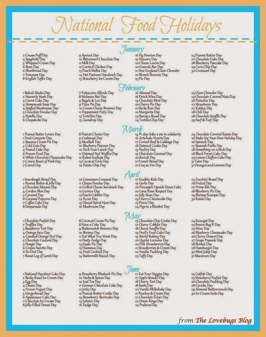 National Food Day Calendar Printable Printable Calendar 2018-National Food Holidays Calendar