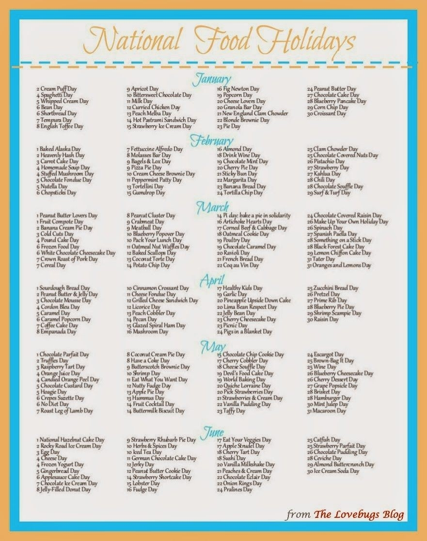 National Food Day Calendar Printable Printable Calendar 2018-Printable Calendar Of Food Holidays