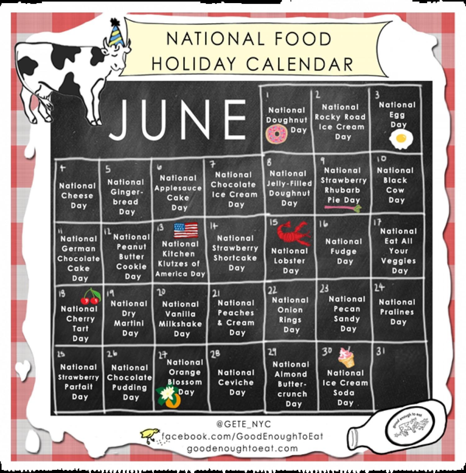 National Food Holiday Calendar - June 2013   Visual.ly-Calendar Of National Food Holidays