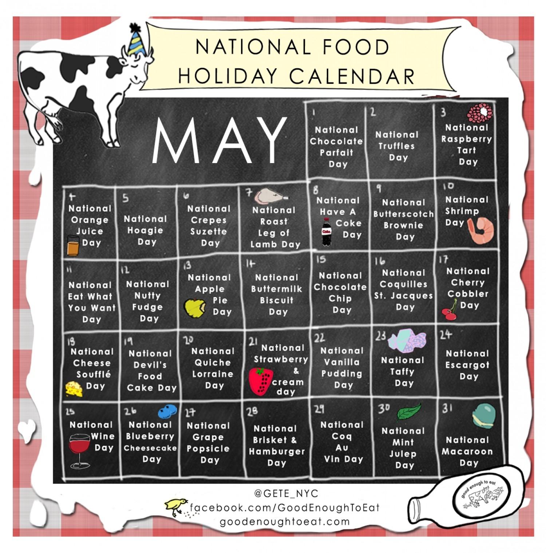 National Food Holiday Calendar - May   Visual.ly-Calendar Of National Food Holidays