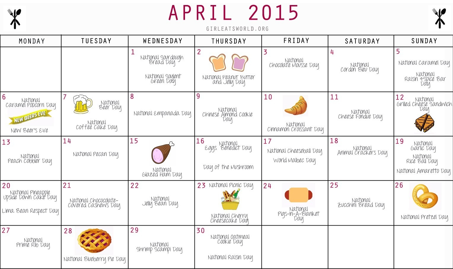 National Food Holidays April 2015   Girl Eats World-Calendar Of National Food Holidays