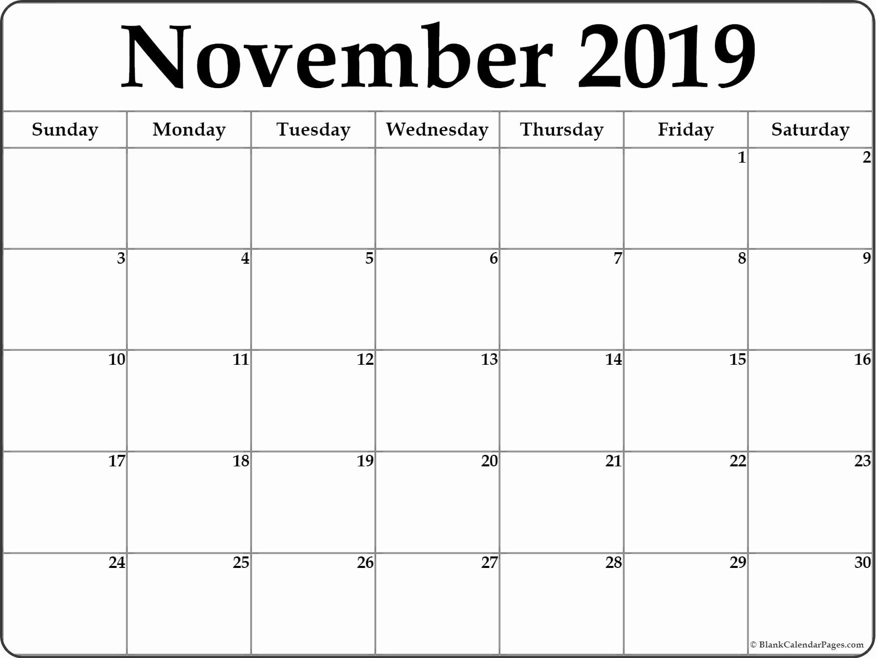 New 30 Design Printable Calendar November 2019 Monday Start-Calendar Template Monday Start