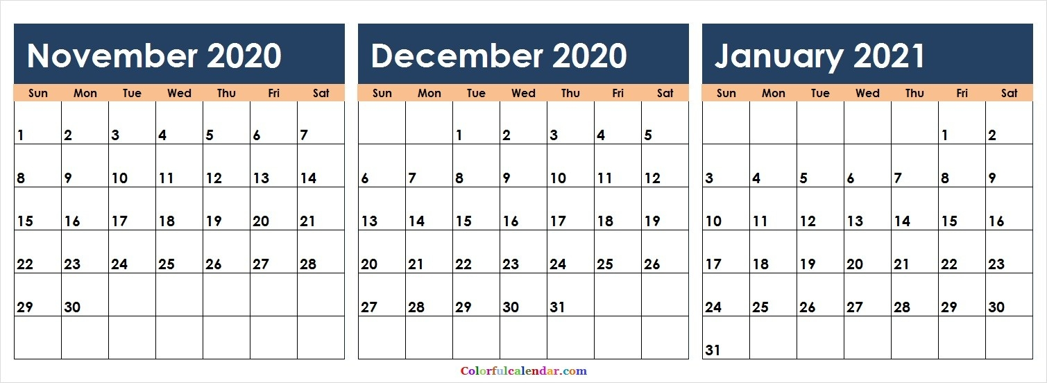 New November December 2020 January 2021 Calendar Colorful-December 2020 And January 2021 Calendar