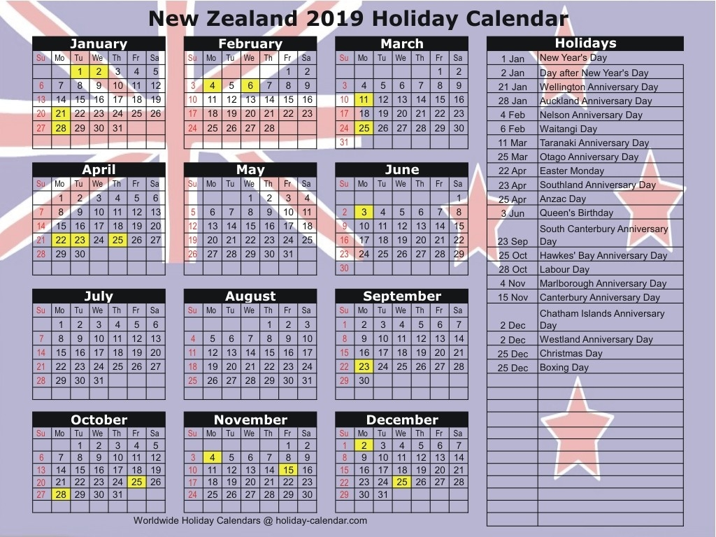 New Zealand 2019 / 2020 Holiday Calendar-January 2020 Calendar New Zealand