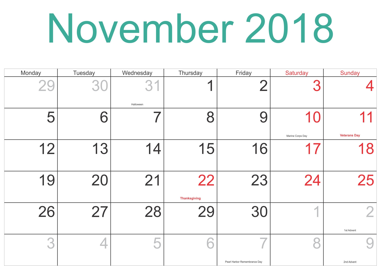 November 2018 Calendar Printable Template With Holidays-Free Calendar Template Printable 201