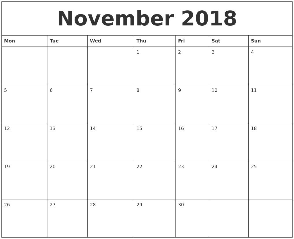 November 2018 Calendar Uk Free Download   November Calendar-Blank Month Caledar Uk