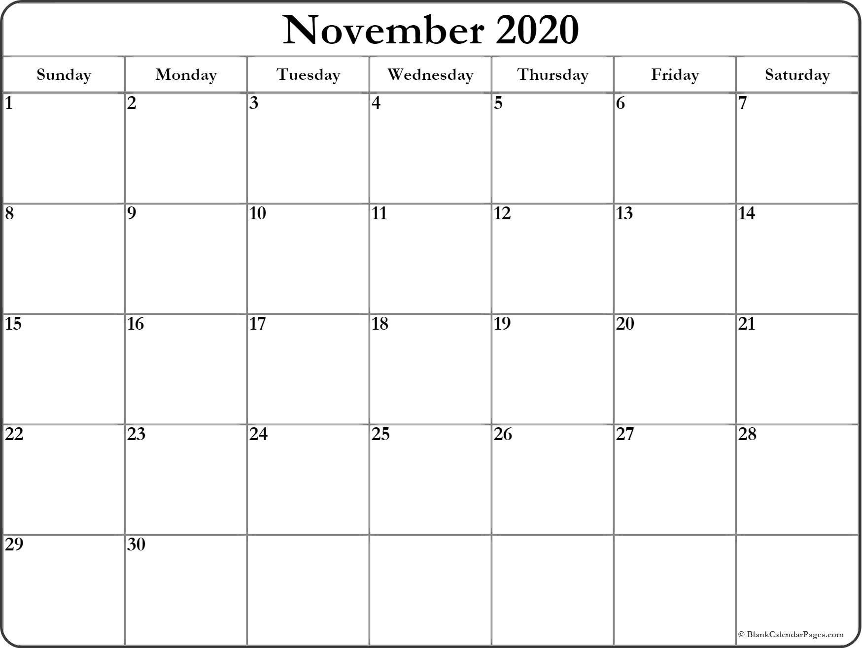 November 2020 Calendar | Free Printable Monthly Calendars-Month Template 2020 Printable Free Starting On Monday