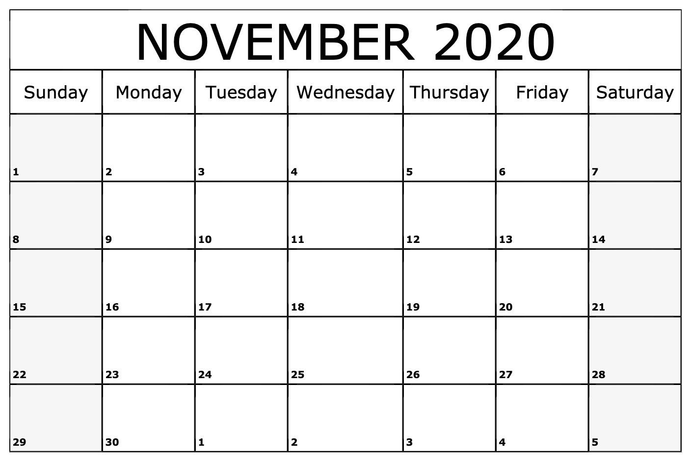 November 2020 Calendar Printable Template | Monthly-January 2020 Calendar With Holidays Printable