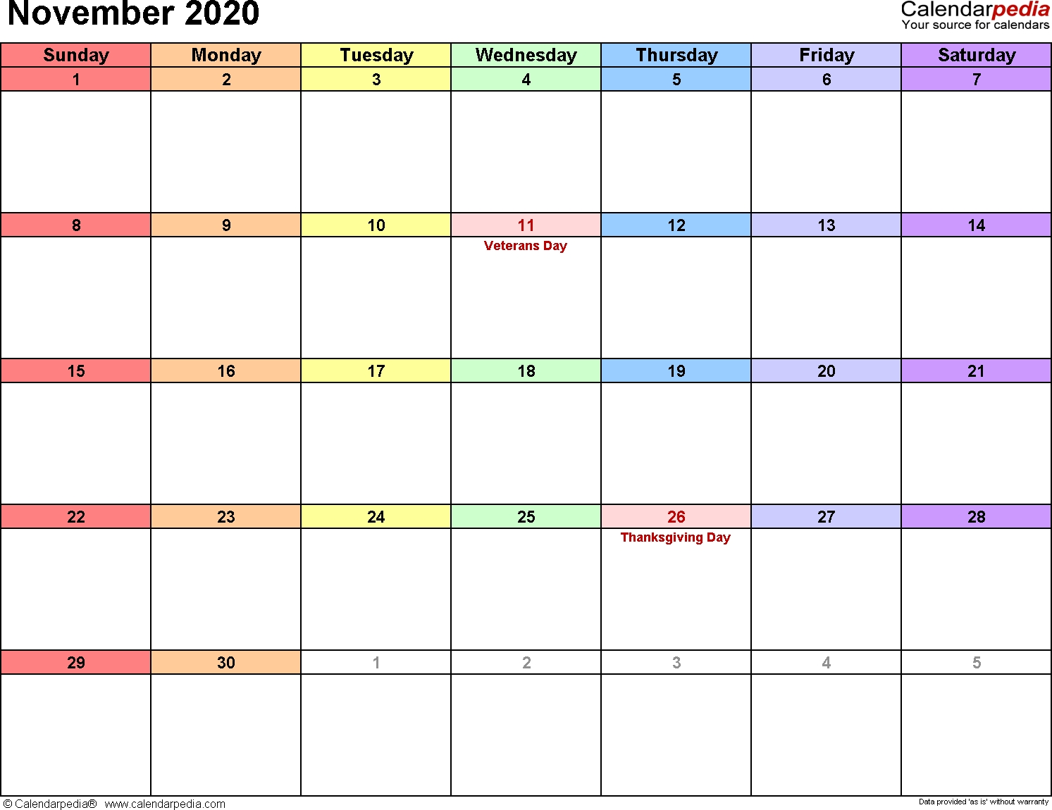 November 2020 Calendars For Word, Excel & Pdf-January 2020 Calendar Printable Wincalendar