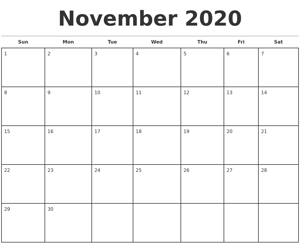 November 2020 Monthly Calendar Template-Editable Printable Calendar 2020 Monthly Sunday Start