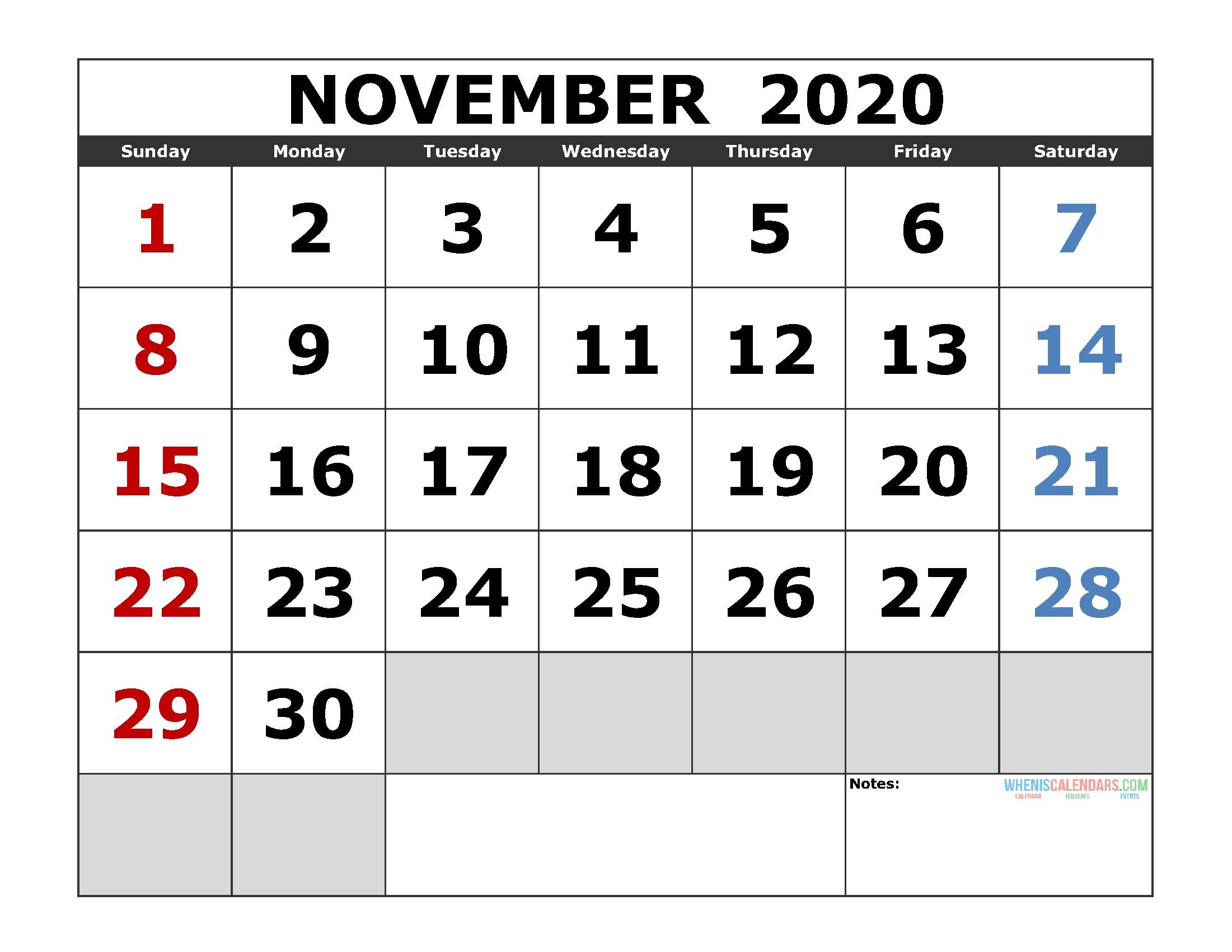 November 2020 Printable Calendar Template Excel, Pdf, Image-2020 Jewish Holidays Printable Calendar