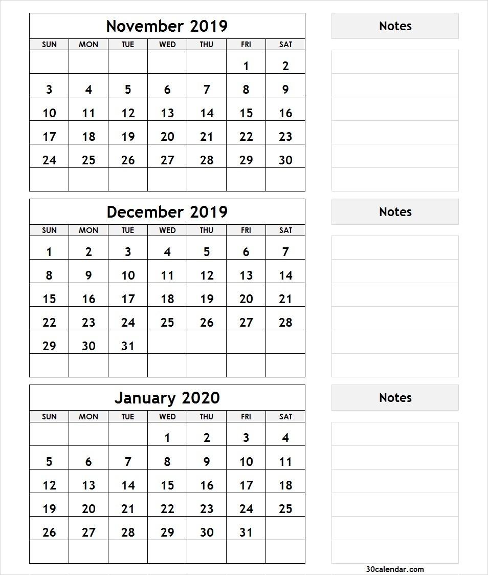 November December 2019 January 2020 Calendar | 3 Month Calendar-November December January 2020 Calendar