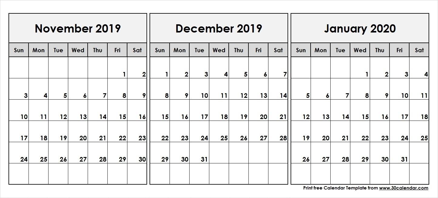 November-December-2019-January-2020-Printable-Calendar - 30-November December January 2020 Calendar