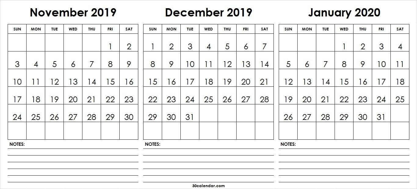 November December 2019 January Calendar 2020 | 3 Month Calendar-November December January 2020 Calendar