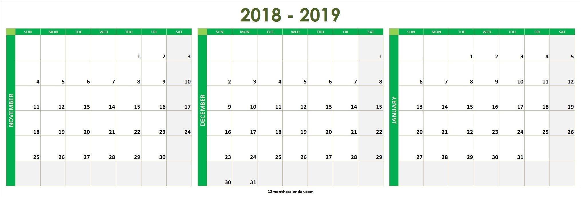 November December 2020 January 2021 Calendar Printable Free-December 2020 And January 2021 Calendar