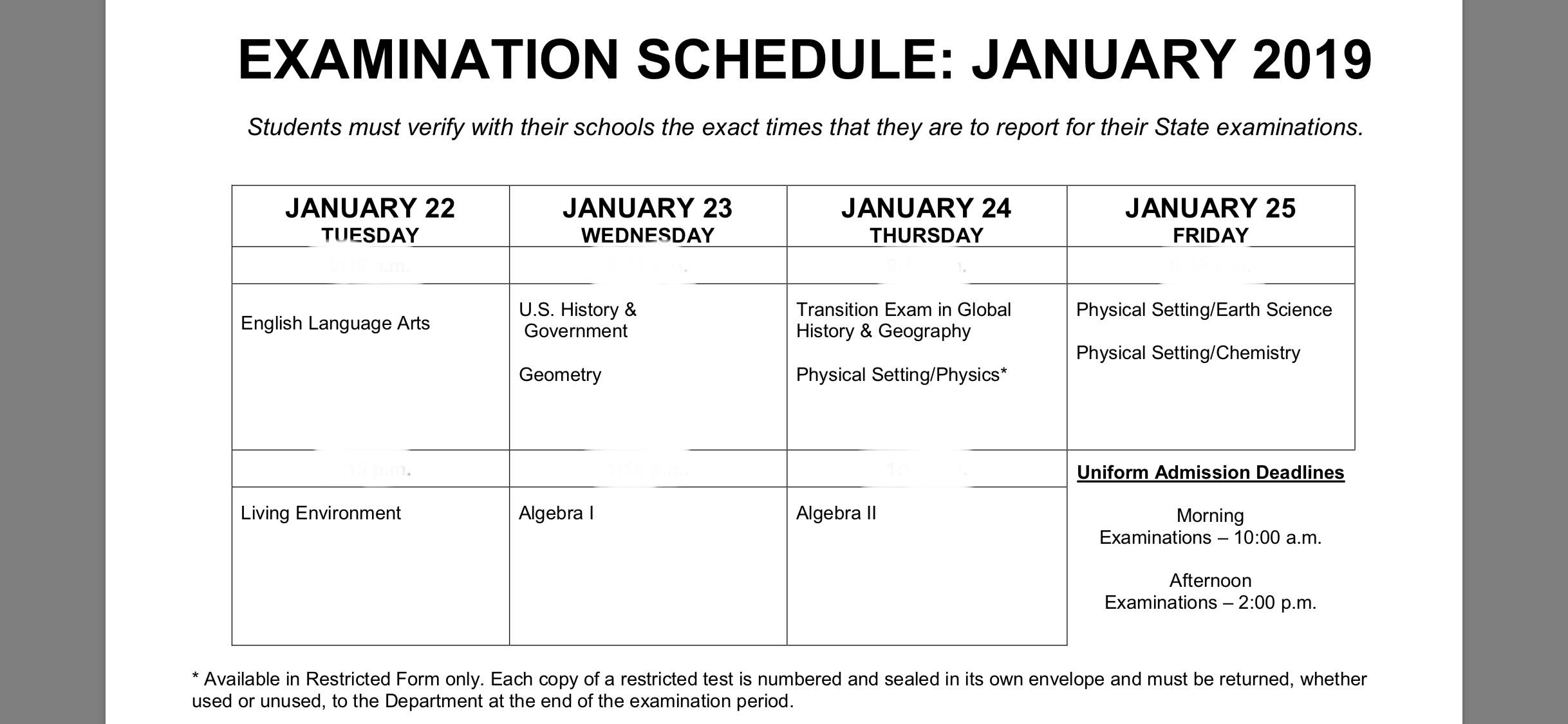 Nys Regents Information - Rome City School District-January 2020 Regents Calendar