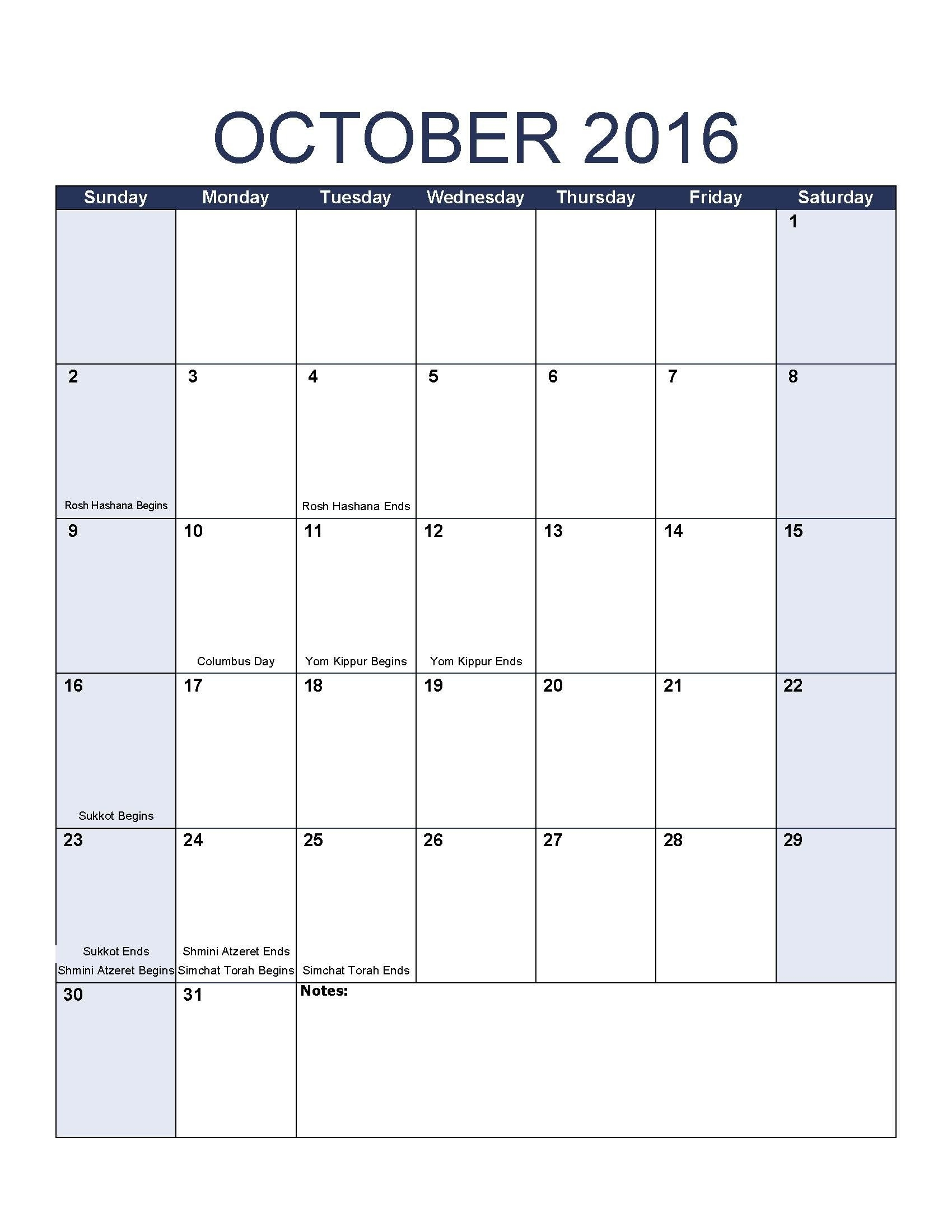 October 2016 Calendar Template Intended For Jewish Holidays-Dates For The Jewish Holidays In October
