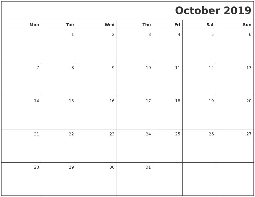 October 2019 Printable Blank Calendar-Blank Calendar Starting With Monday