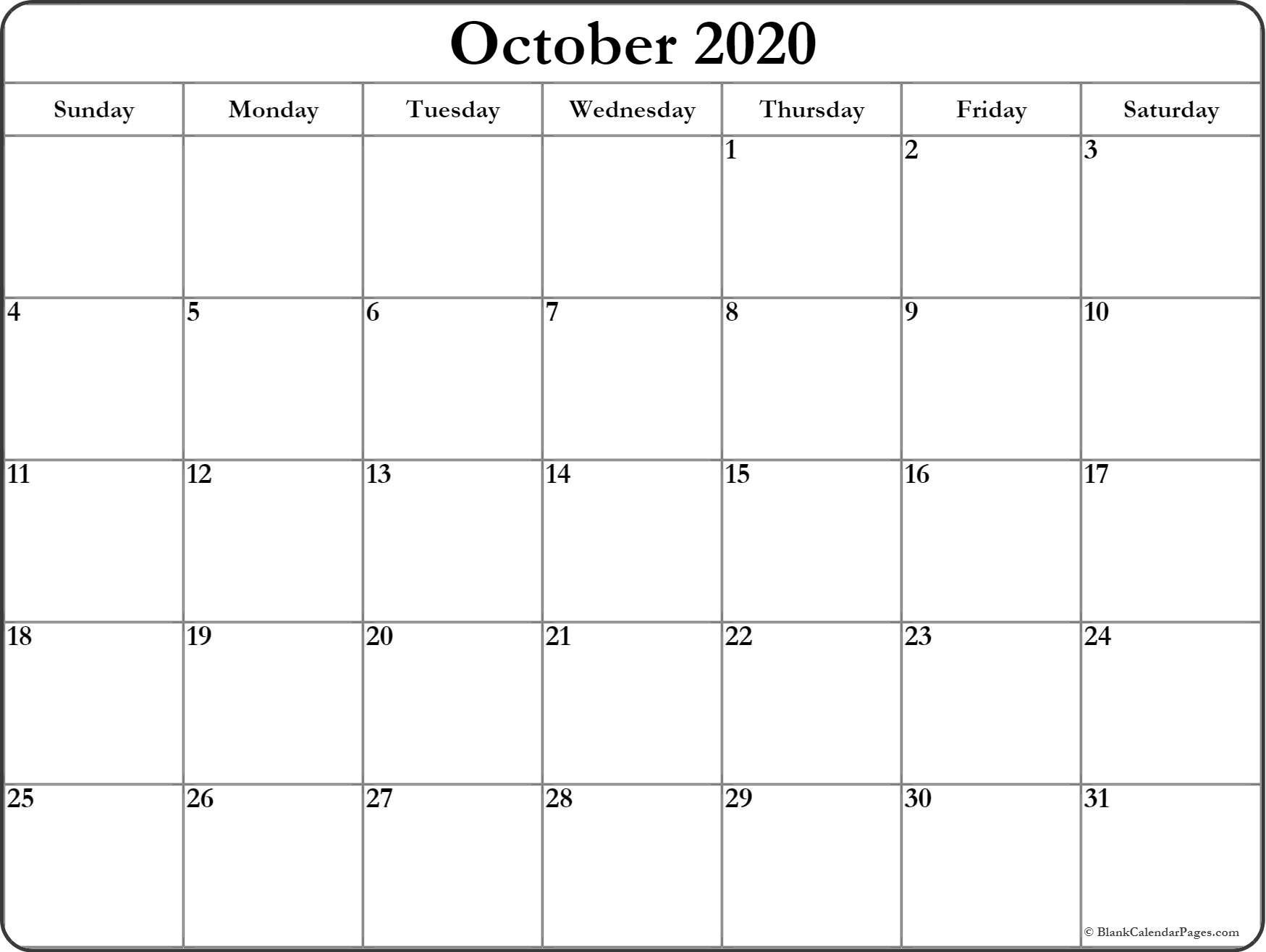 October 2020 Blank Calendar Templates.-Fill In Calendar Template 2020