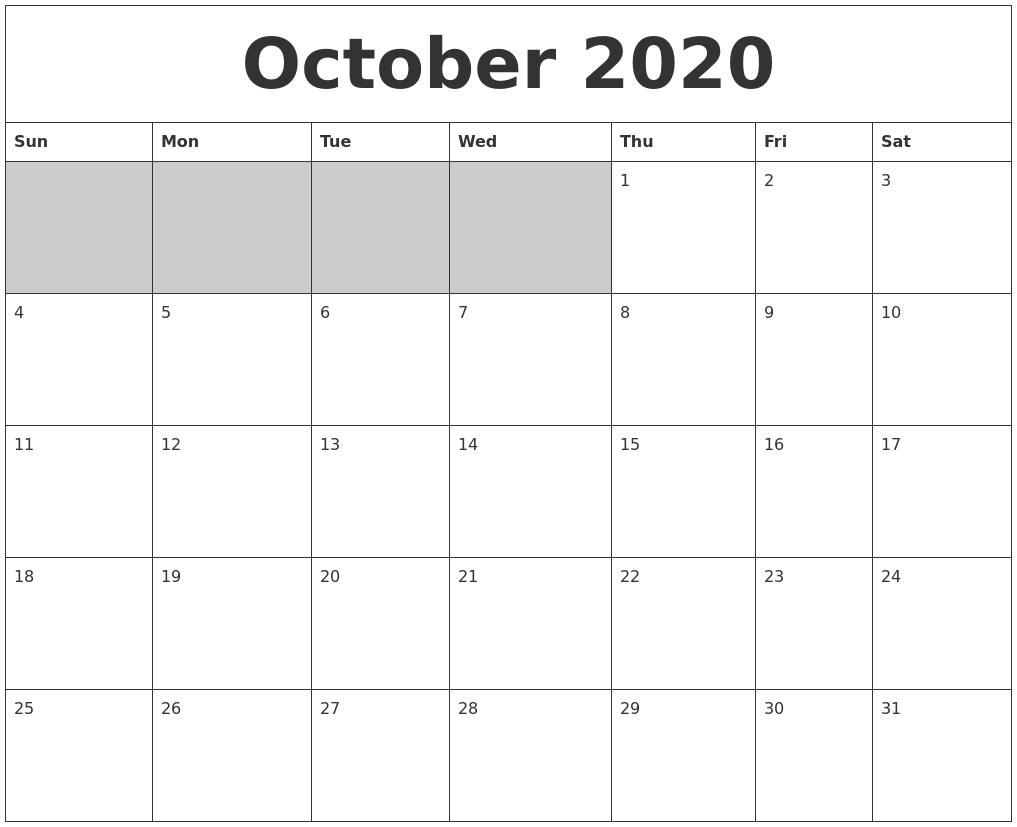 October 2020 Blank Printable Calendar-Blank Calendar October 2020 Printable