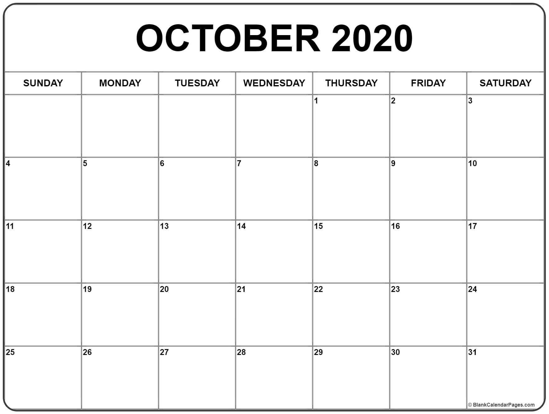 October 2020 Calendar | Free Printable Monthly Calendars-Blank Calendar October 2020 Printable