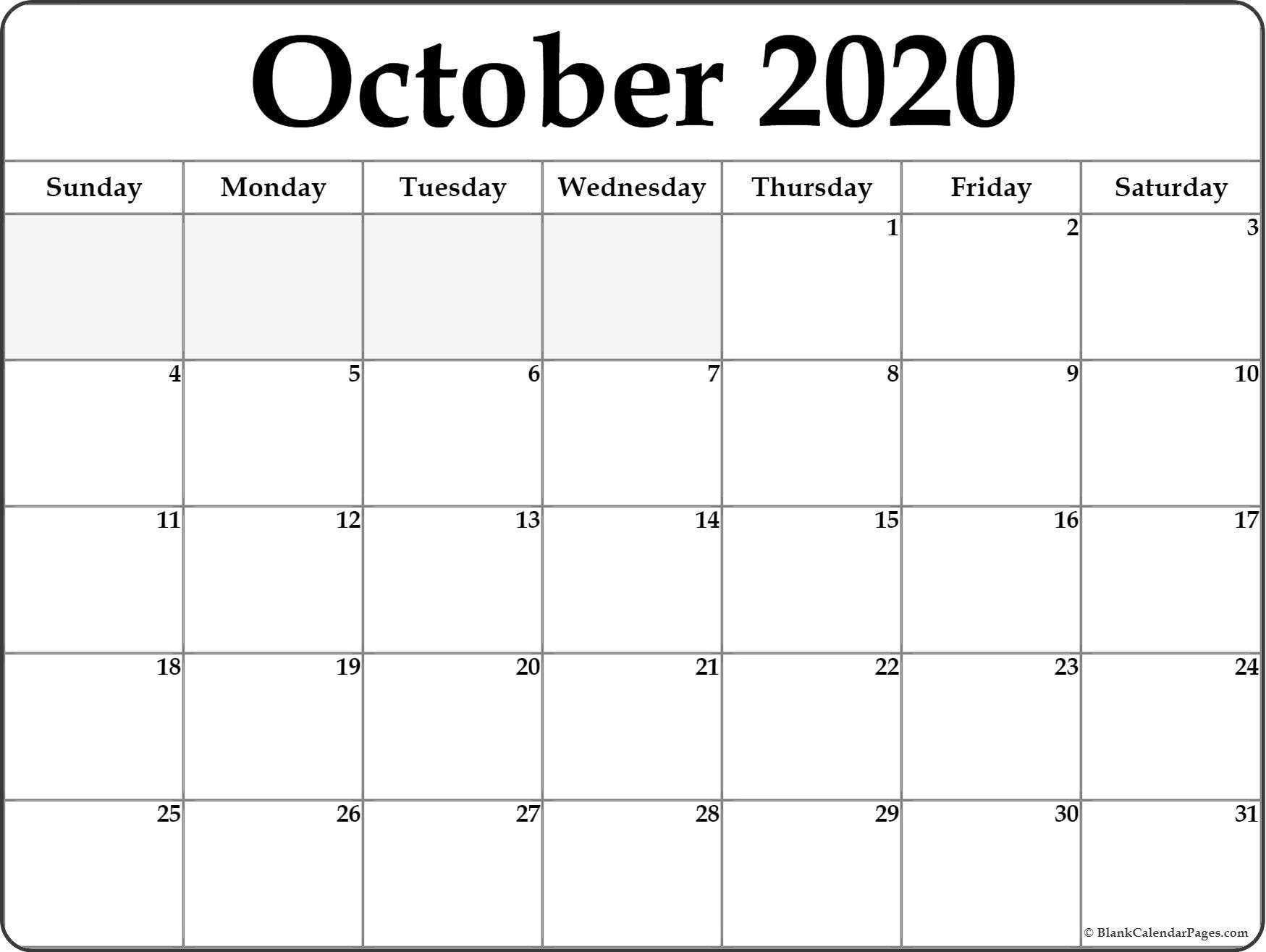 October 2020 Calendar | Free Printable Monthly Calendars-Monthly Bill Calendar 2020