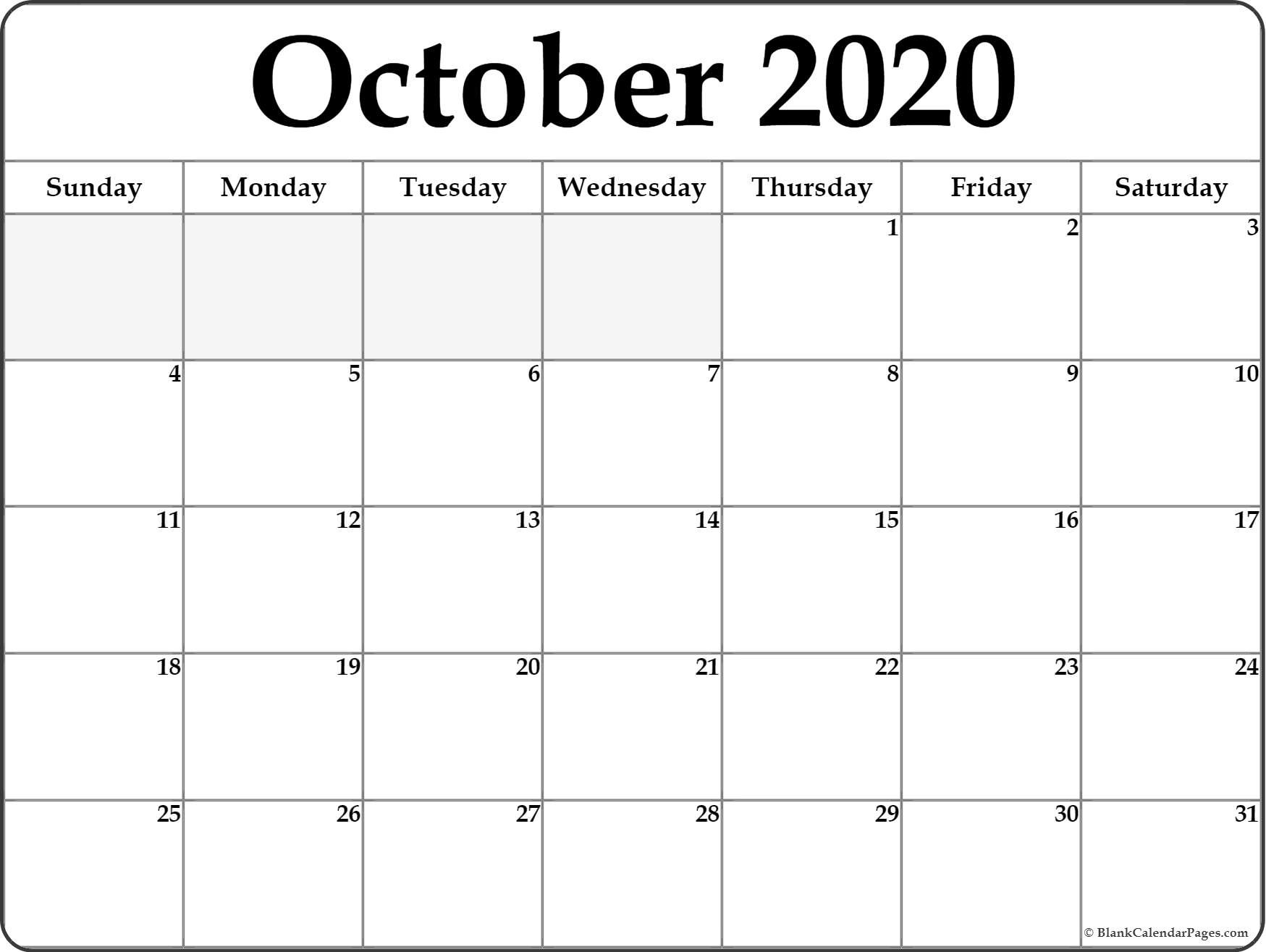 October 2020 Calendar | Free Printable Monthly Calendars-October 2020 Monthly Calendar Blank Printable