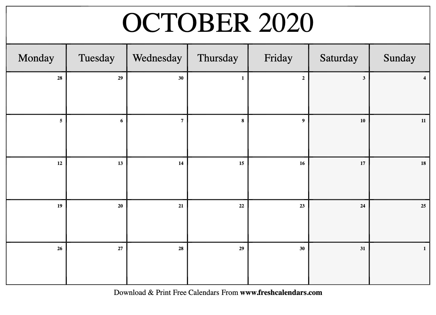 October 2020 Calendar Printable - Fresh Calendars-Printable Calendar 2020 Monthly Monday Start