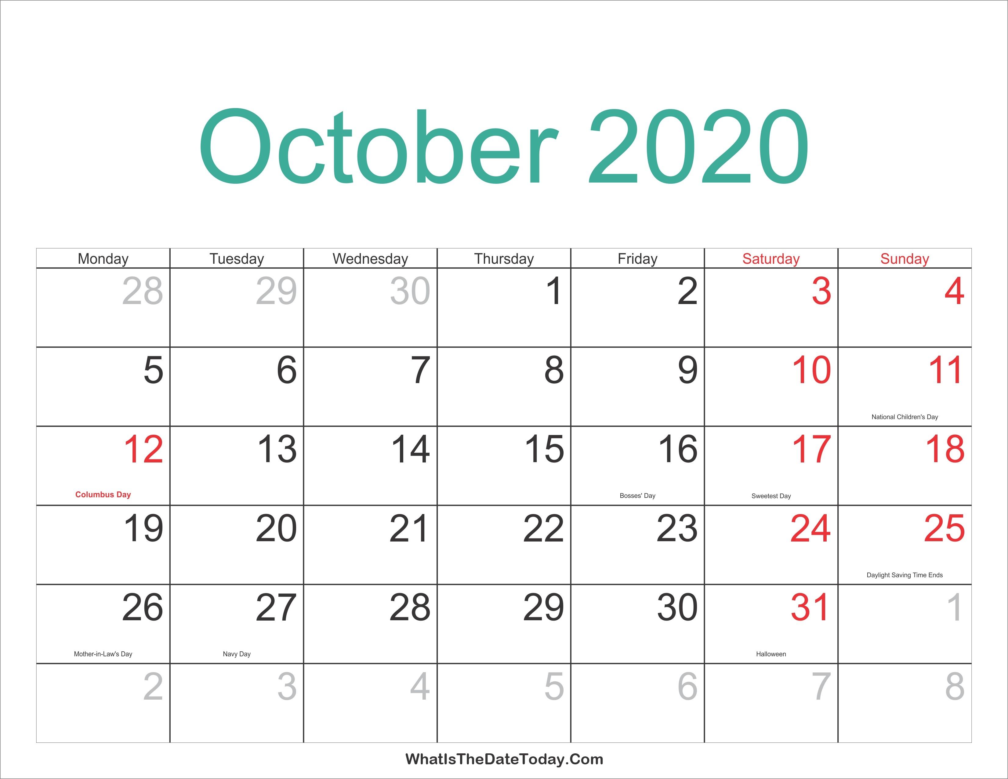 October 2020 Calendar   Thekpark-Hadong-Jewish Holidays Printable Calendar October 2020