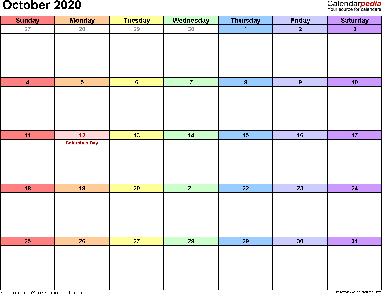 October 2020 Calendars For Word, Excel & Pdf-Blank Calendar October 2020 Printable