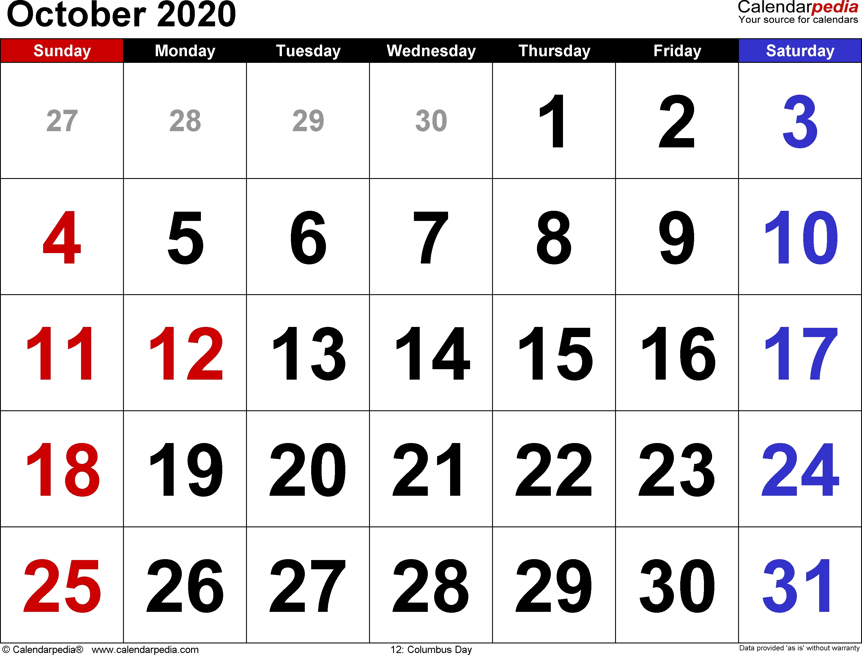 October 2020 Calendars For Word, Excel & Pdf-October 2020 Monthly Calendar Blank Printable