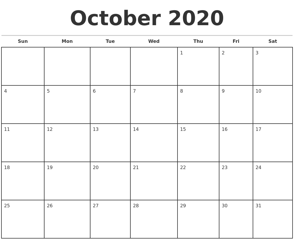 October 2020 Monthly Calendar Template-October 2020 Monthly Calendar Blank Printable