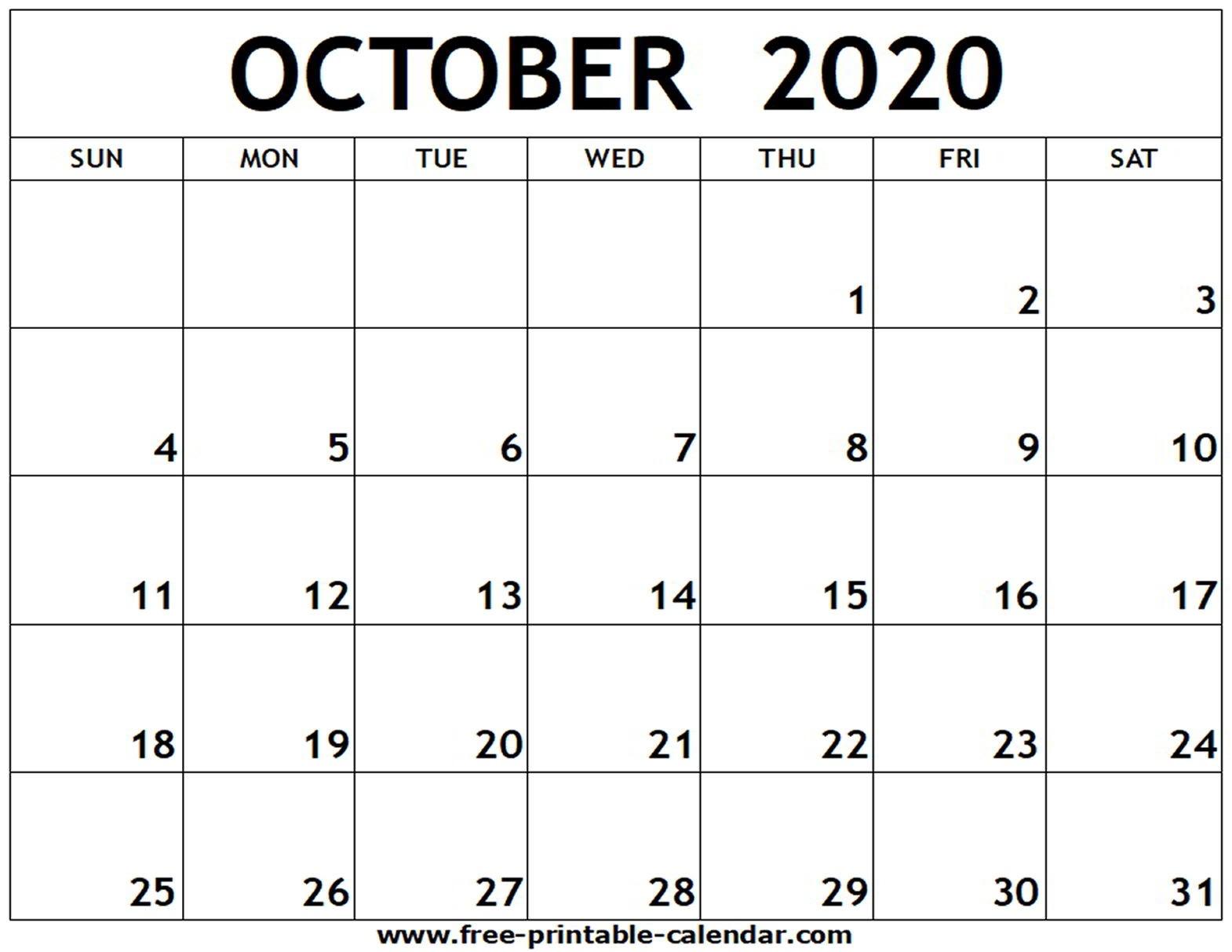 October 2020 Printable Calendar - Free-Printable-Calendar-Blank Calendar October 2020 Printable