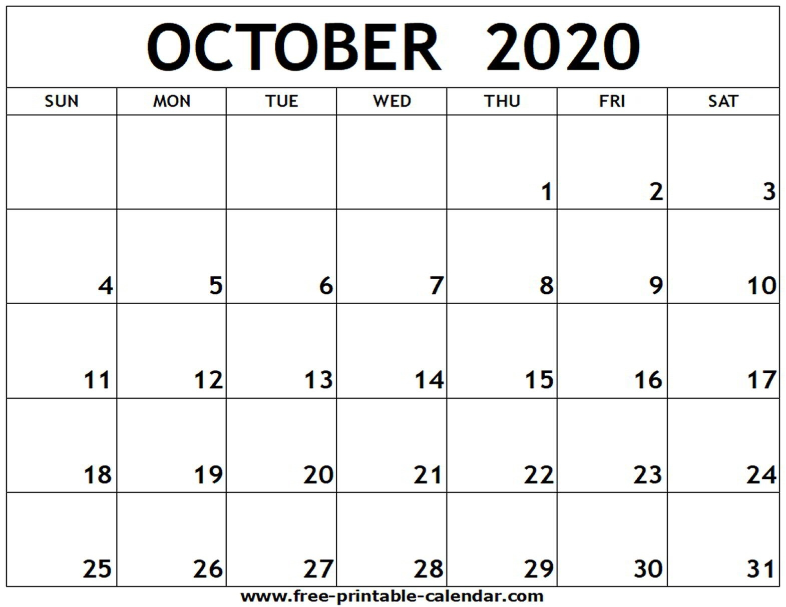 October 2020 Printable Calendar - Free-Printable-Calendar-October 2020 Monthly Calendar Blank Printable
